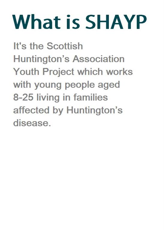 scottish huntingtons association home page SHAYP youth project