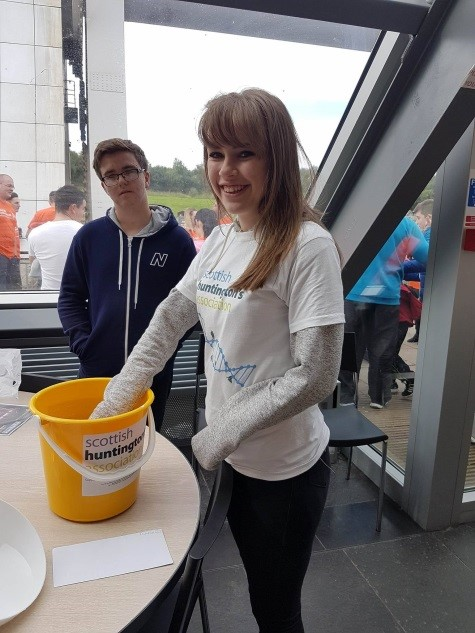 SHA Volunteer Elke McLean drawing our lucky winners at the Falkirk Wheel Abseil event